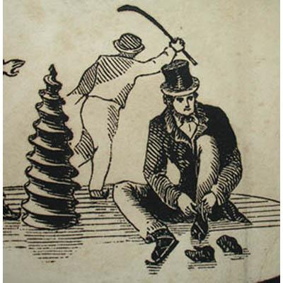 Detail of man lacing skate