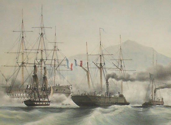 French Steam Vessels Forcing a Pass