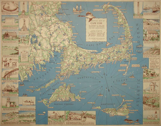 Pictorial Map, Cape Cod, Decorative