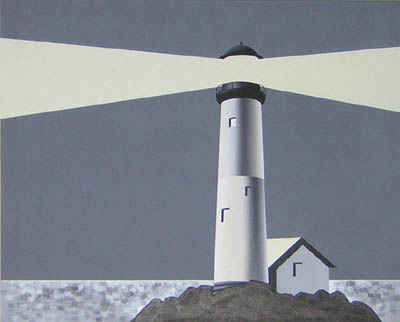 Art Deco Painting of a Lighthouse