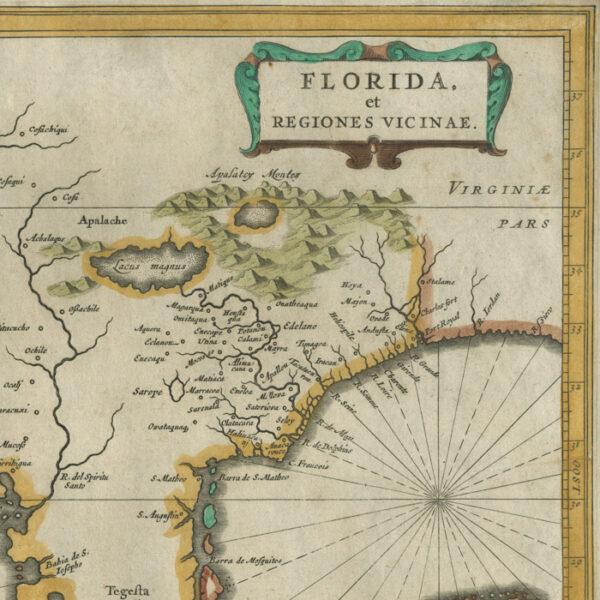 Florida, et Regiones Vincinae [Florida and Vicinity] from Beschrijvinghe van West-Indiën, detail