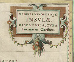 Maiores Minores que Insulae Hispaniola, Cuba Lucaia et Caribes, detail