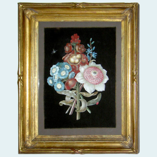 Bouquet Flower Study with Auriculas and Lady Bug, framed