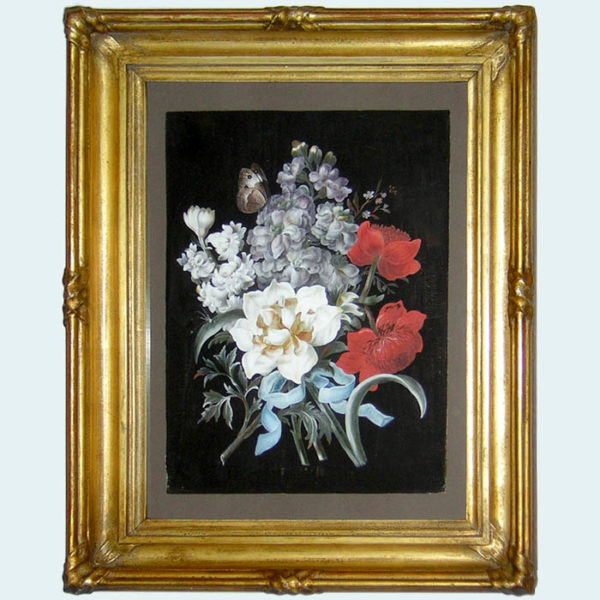 Ribbon-Tied Bouquet Flower Study with Rose and Butterfly, framed