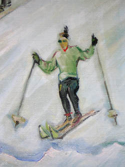 Painting of Downhill Skiers