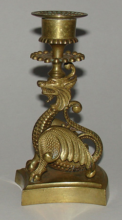 Brass Candlesticks, Winged Dragon Pair