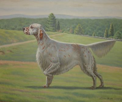 English Setter, Oil Painting on Canvas