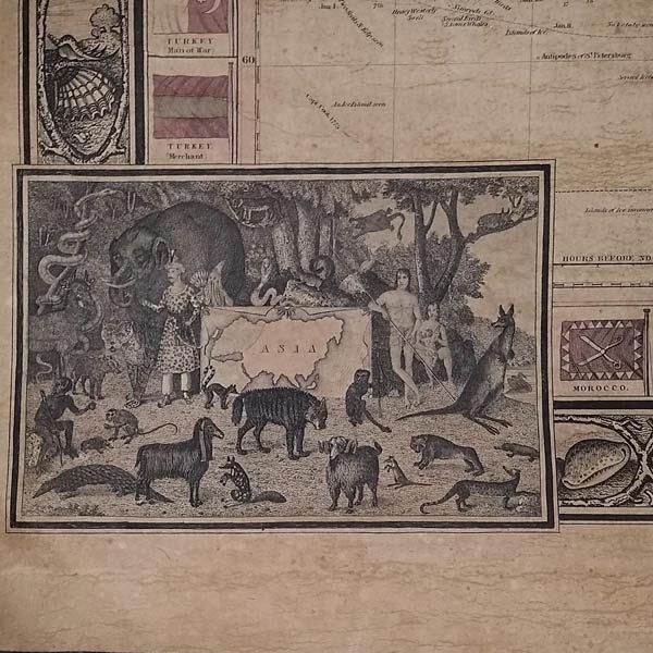 Detail of map corner illustration of Asia.