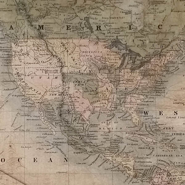 Detail of North America and Central America.