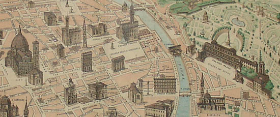 View Italy Florence Monumental Florence Antique Print