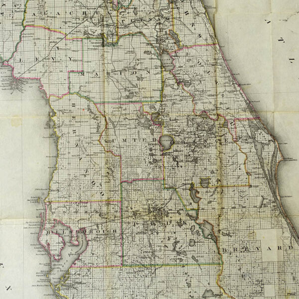 Colton New Sectional Map of the State of Florida, pocket map, detail