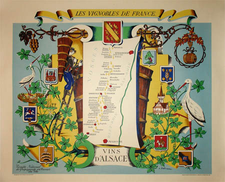 Posters, Three Art Deco Maps of French Wine Regions