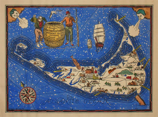 Pictorial Map, Nantucket Island, Decorative