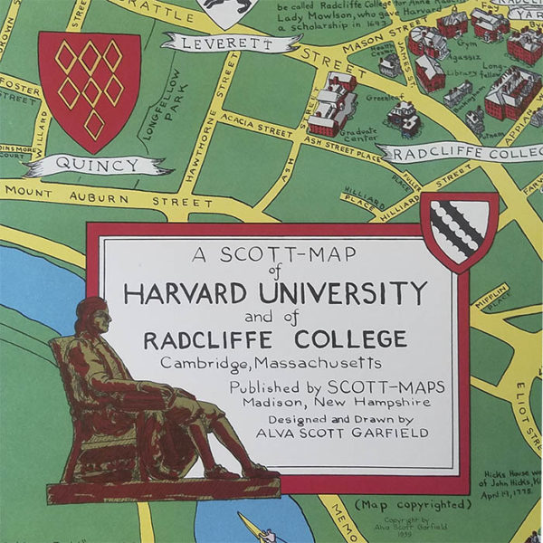 A Scott-Map of Harvard University and of Radcliffe College Cambridge, Massachusetts, detail