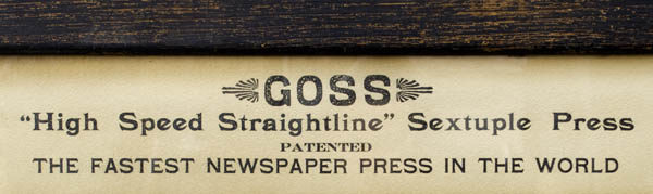 "Goss ""High Speed Straightline"" Sextuple Press"