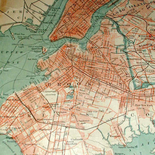 Map of Long Island, C. S. Hammond & Co., detail of Brooklyn