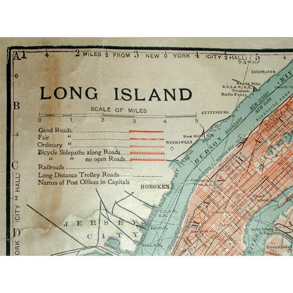Map of Long Island, C. S. Hammond & Co., legend