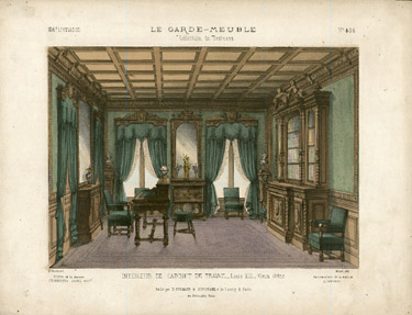 Intérieur de Cabinet de Travail Louis XIII Vieux chéne [Interior of Louis XIII Study in Old Oak View of the interior of a study, in a predominantly green wall color, drapery and furniture, as well as a bookcase, desk and globe.