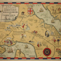 Pictorial Map, Virginia, Jamestown, Williamsburg and Yorktown, Colonial Era