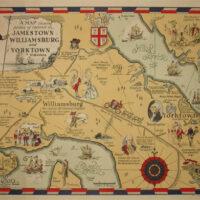Pictorial Map, Virginia, Jamestown, Williamsburg and Yorktown, Colonial Era
