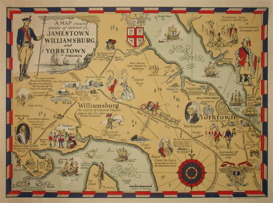 Map, Virginia, Jamestown, Williamsburg and Yorktown, Pictorial ...