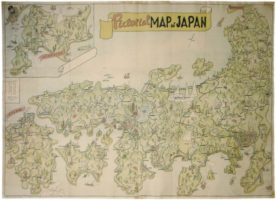 photo relating to Printable Maps of Japan named Map, Japan, Tokyo, Pictorial Map, Typical Print, 1955