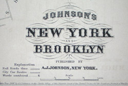 Map, Johnson's New York and Brooklyn