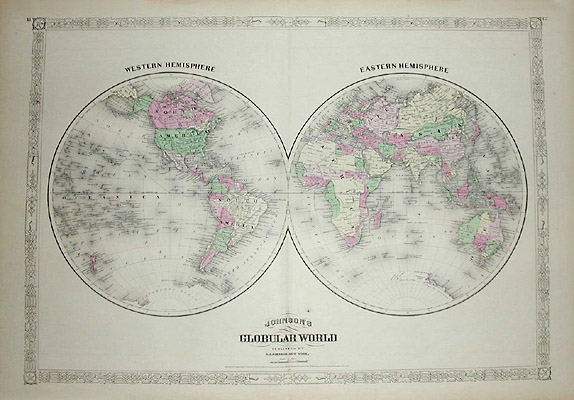 World Map, Johnson's Globular World