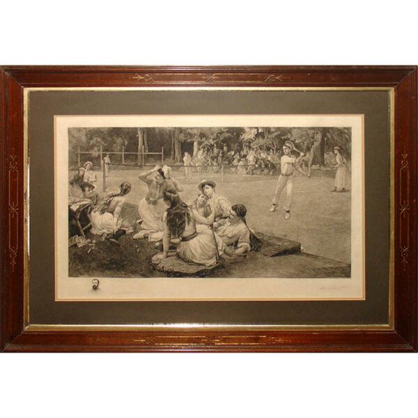 Lawn Tennis Club by F.A. Bridgman, framed