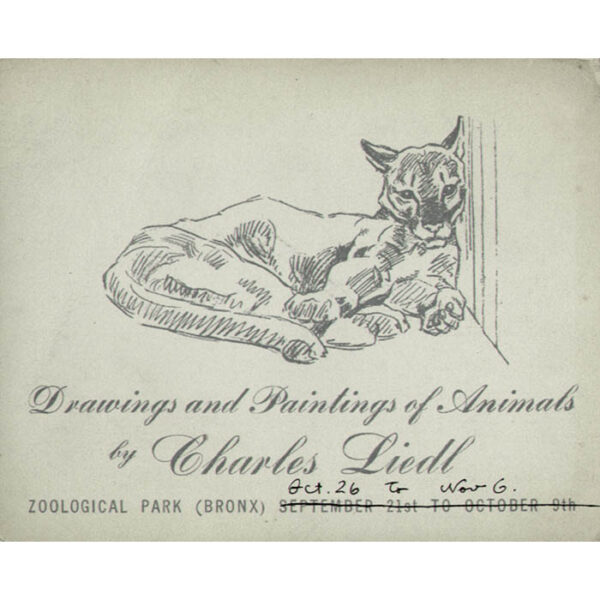 Charles Liedl Animal Paintings at the Bronx Zoo announcement card