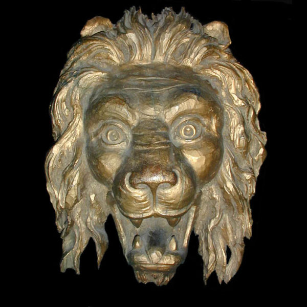 Carved Giltwood Lion Head