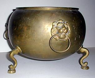 Brass Planter, Lion's Head