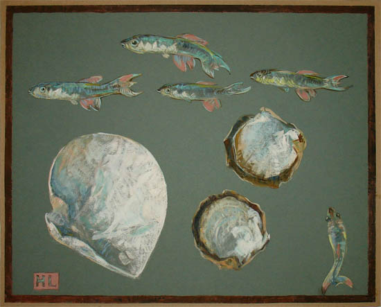 Fish and Shells painting