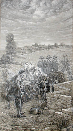 Erecting the First Stone House