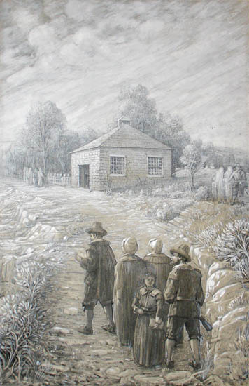 Early Settlers Gathering at the First Community House