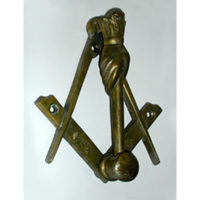 Gavel Form Masonic Bronze Door Knocker