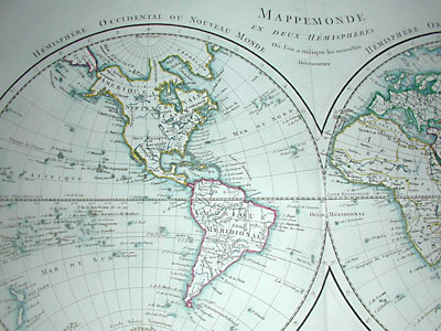 World Map, Double Hemisphere, Mappemonde en Deux Hemispheres