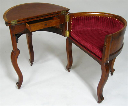 Library Furniture, Victorian Metamorphic Combination Table, Desk and Chair - Furniture, Metamorphic, Combination Table, Desk And Chair, By