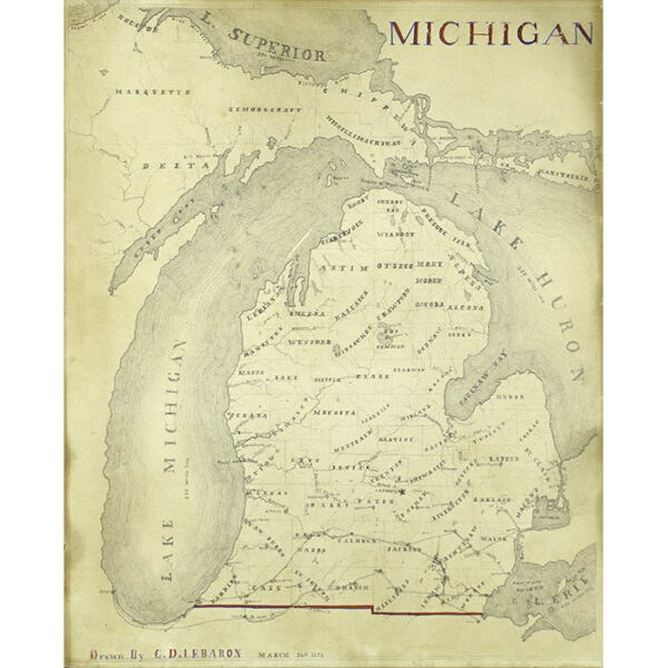 Manuscript Map of Michigan, 1854