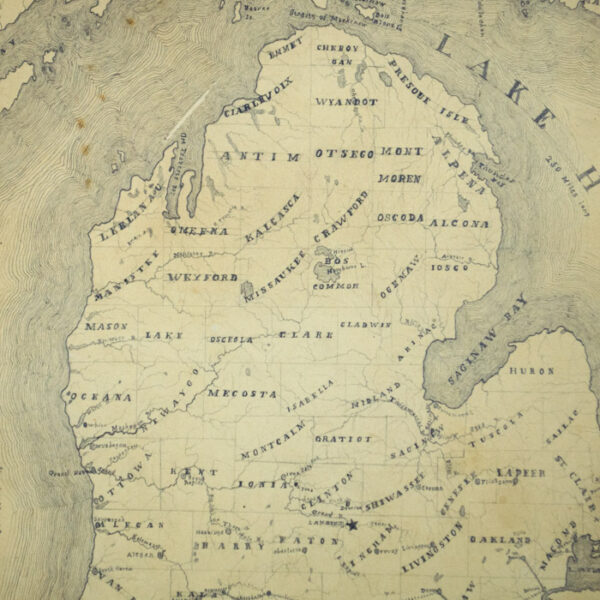 Manuscript Map of Michigan, 1854, detail
