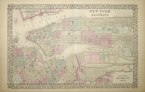 Map, New York and Brooklyn