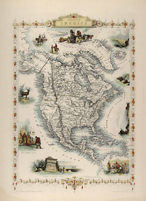 Map, North America, Tallis's Illustrated Atlas, 1851
