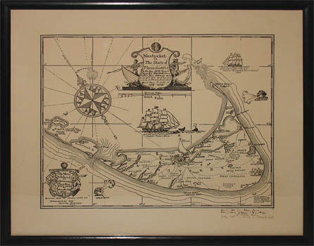 Framed Pictorial Map, Nantucket in the State of Massachusetts