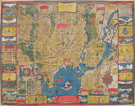 Pictorial Map, New Haven, Connecticut