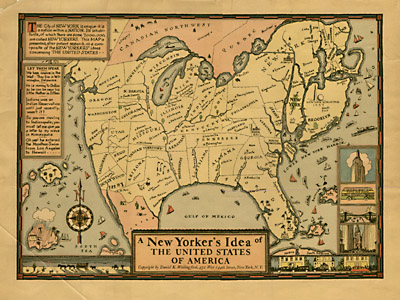 Map, New Yorker's Idea of the United States