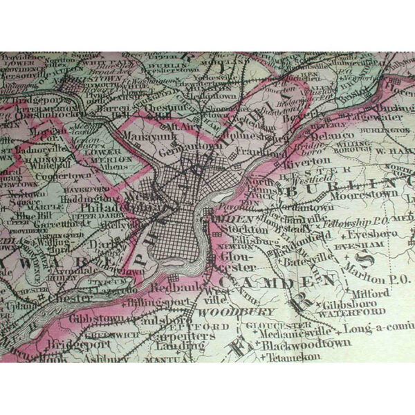 Colton's New Township Map of the State of Pennsylvania, detail