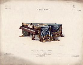Piano à Queue Drapé, Ornements de la maison Roussel et Laverlochère [Draped Grand Piano, Ornaments from the House of Roussel and Laverlochère]