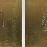 Signs, Pair of Brass Pictograph Men's and Women's Room Door
