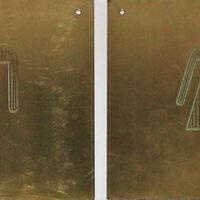 Signs, Pair of Brass Pictograph Men's and Women's Room Door