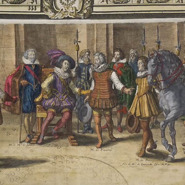 Jousting Print from Le Manège Royal - L'Instruction du Roy, en L'Exercice de Monter a Cheval, Fig. 1A, Part 1, detail